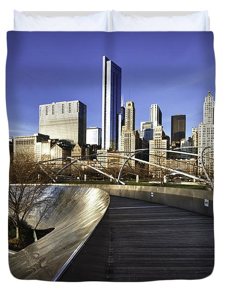 Chicago Skyline At Sunrise Duvet Cover by Sebastian Musial