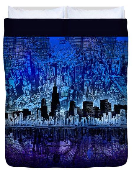 Chicago Skyline Blue Version Duvet Cover