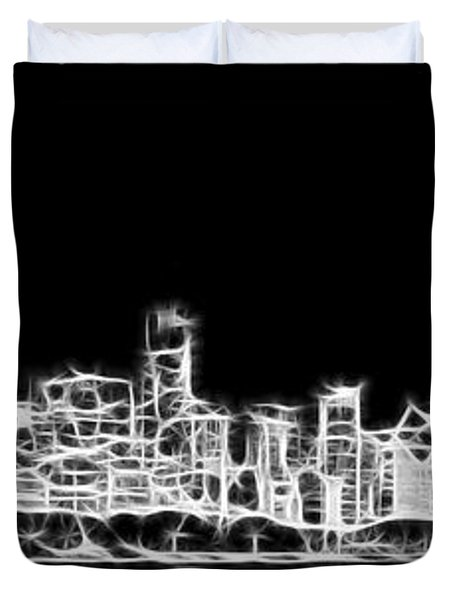 Chicago Skyline Fractal Black And White Duvet Cover by Adam Romanowicz