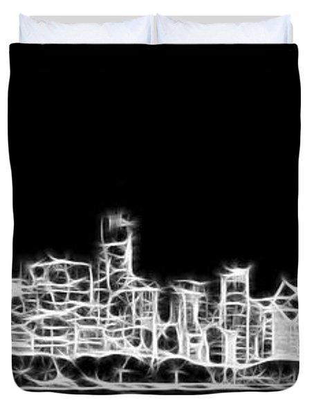 Chicago Skyline Fractal Black And White Duvet Cover