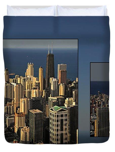Chicago Skyline From Willis Tower Duvet Cover by Christine Till