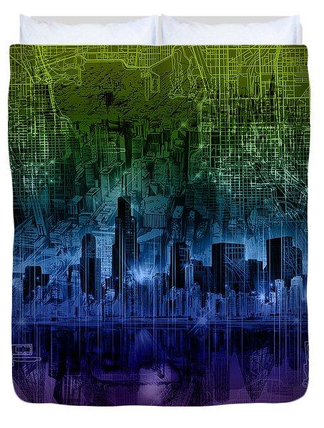 Chicago Skyline Gradient Version Duvet Cover