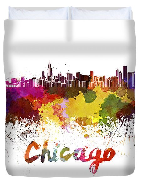 Chicago Skyline In Watercolor Duvet Cover