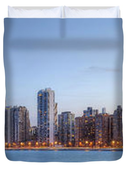 Chicago Skyline Night Panorama Duvet Cover