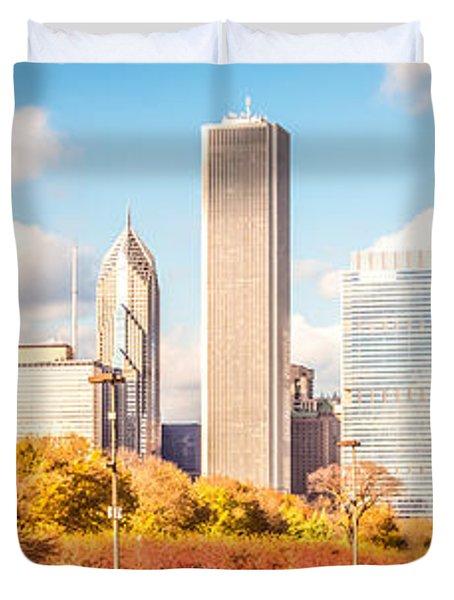 Chicago Skyline Panorama Photo Duvet Cover by Paul Velgos