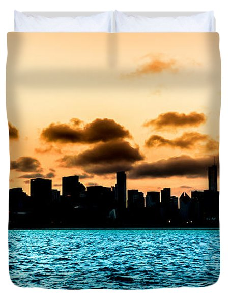 Chicago Skyline Silhouette Duvet Cover