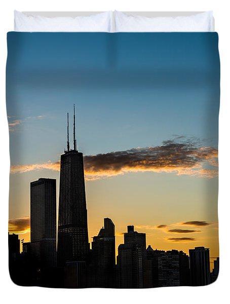 Chicago Skyline Silhouette Duvet Cover