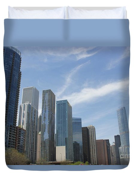 Chicago Skyscrapers Duvet Cover by The Art of Alice Terrill