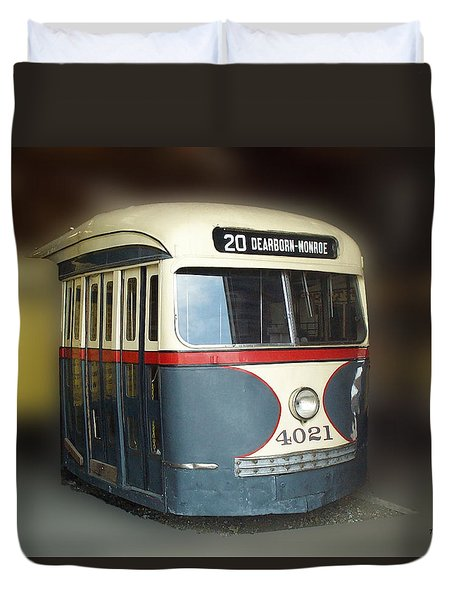Chicago Street Car 20 Duvet Cover by Thomas Woolworth
