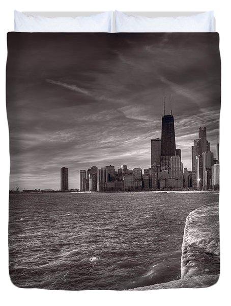 Chicago Sunrise Bw Duvet Cover by Steve Gadomski