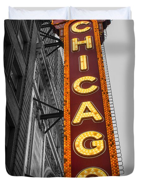 Chicago Theater Selective Color Duvet Cover
