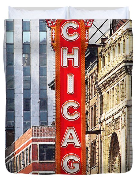 Chicago Theatre - A Classic Chicago Landmark Duvet Cover by Christine Till