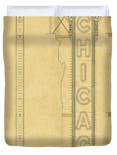 Chicago Theatre Blueprint Duvet Cover