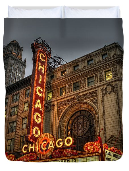 Chicago Theatre Hdr Duvet Cover