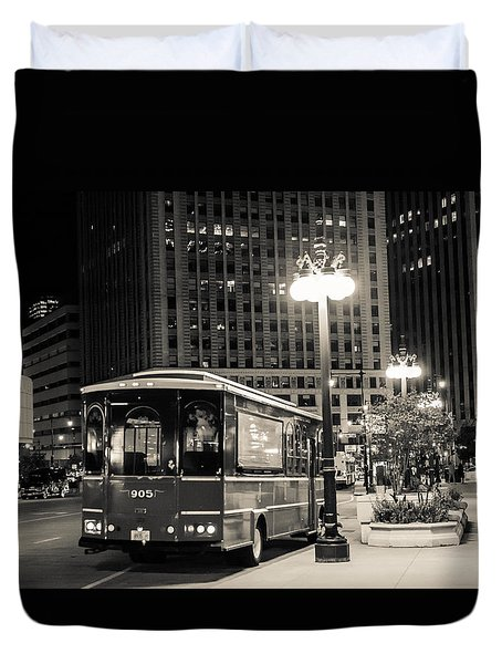 Chicago Trolly Stop Duvet Cover