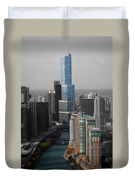 Chicago Trump Tower Blue Selective Coloring Duvet Cover by Thomas Woolworth