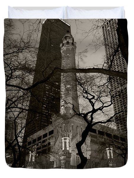 Chicago Water Tower B W Duvet Cover by Steve Gadomski