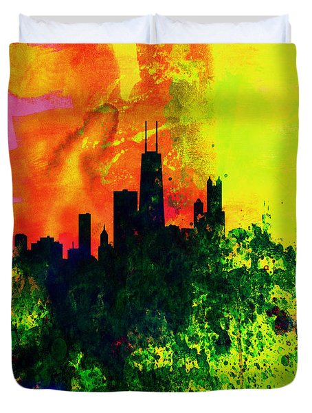 Chicago Watercolor Skyline Duvet Cover