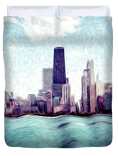 Chicago Windy City Digital Art Painting Duvet Cover by Paul Velgos