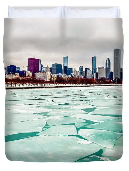 Chicago Winter Skyline Duvet Cover