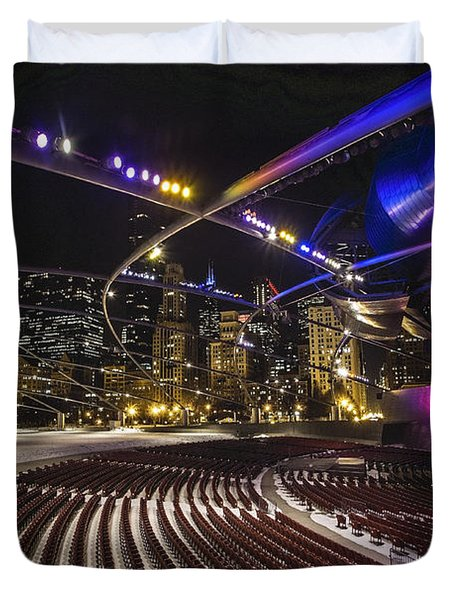 Chicago's Pritzker Pavillion With Colored Lights  Duvet Cover