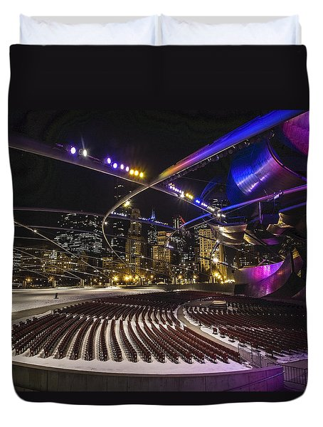 Chicago's Pritzker Pavillion With Colored Lights  Duvet Cover