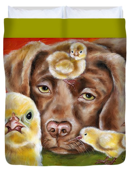 Duvet Cover featuring the painting Chick Sitting Afternoon by Hiroko Sakai
