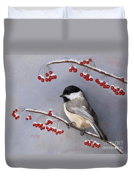 Chickadee And Berries Duvet Cover