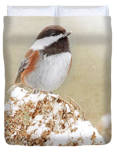 Chickadee And Falling Snow Duvet Cover
