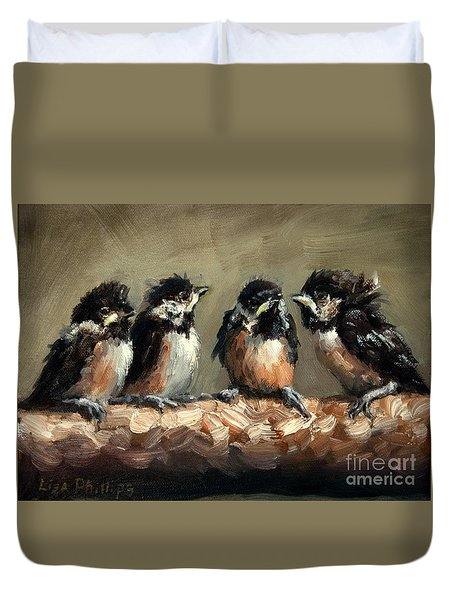 Chickadee Chicks Duvet Cover by Lisa Phillips Owens