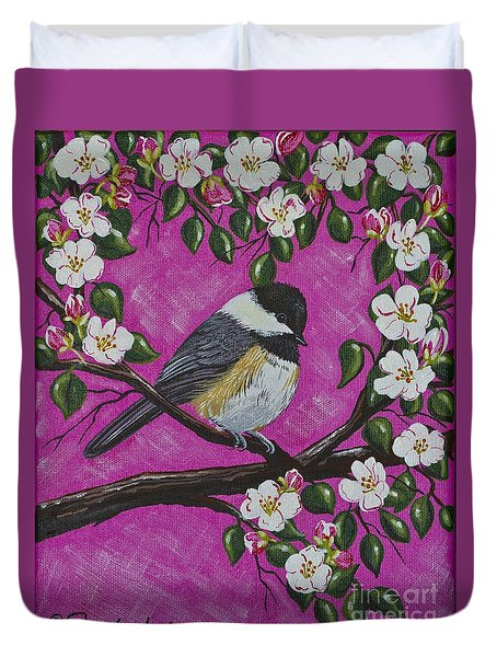 Duvet Cover featuring the painting Chickadee In Apple Blossoms by Jennifer Lake