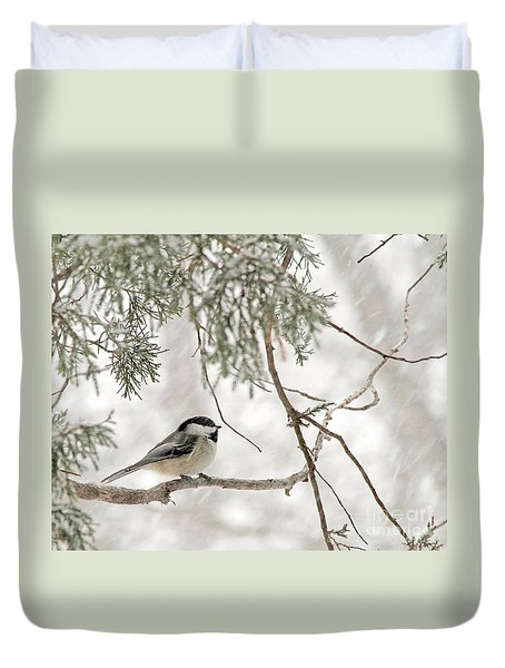 Chickadee In Snowstorm Duvet Cover