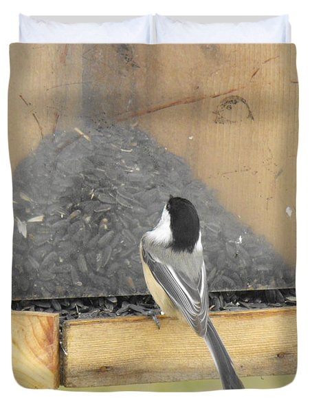 Chickadee Eating Lunch Duvet Cover