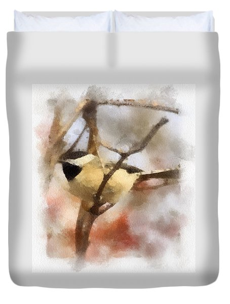 Chickadee Watercolor Duvet Cover by Kerri Farley