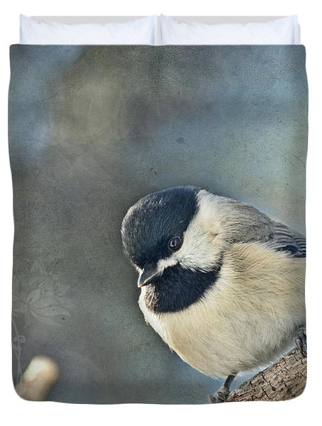 Chickadee With Texture Duvet Cover