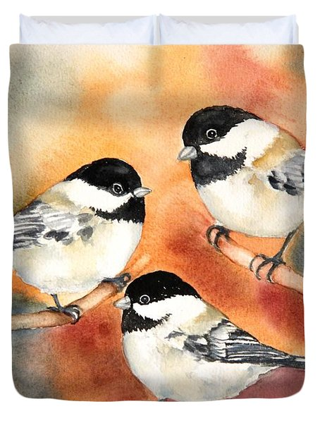 Chickadees Trio Duvet Cover