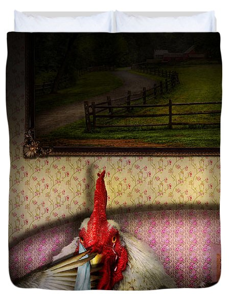 Chicken - Chick Flick Duvet Cover by Mike Savad