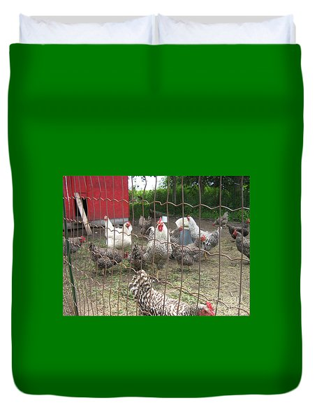Chicken Coop. Duvet Cover