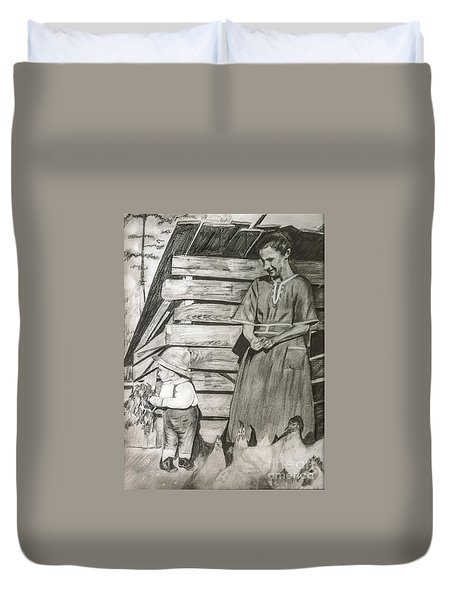 Chicken Coop - Woman And Son - Feeding Chickens Duvet Cover