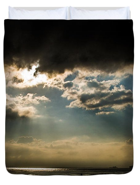 Duvet Cover featuring the photograph Chick's Beach Morning by Angela DeFrias
