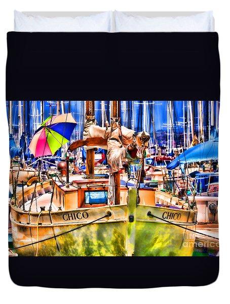 Chico Sail Boat By Diana Sainz Duvet Cover