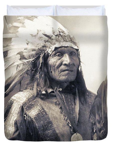 Chief He Dog Of The Sioux Nation  C. 1900 Duvet Cover by Daniel Hagerman