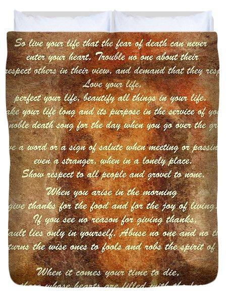 Chief Tecumseh Poem Duvet Cover