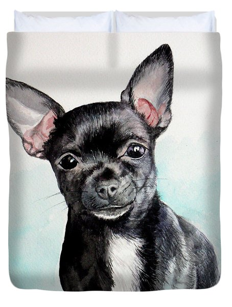 Chihuahua Black Duvet Cover