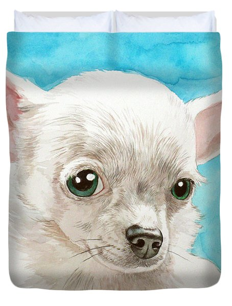 Chihuahua Dog White Duvet Cover