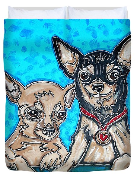 Chihuahua Duo Duvet Cover by Cynthia Snyder