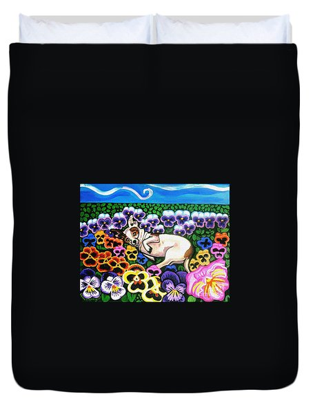Chihuahua In Flowers Duvet Cover by Genevieve Esson