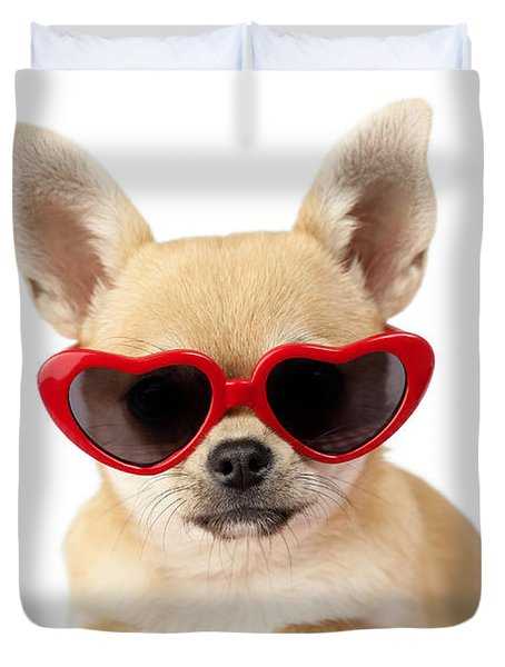 Chihuahua In Heart Sunglasses Dp813 Duvet Cover by Greg Cuddiford