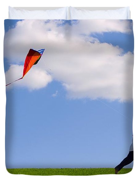 Child Flying A Kite Duvet Cover