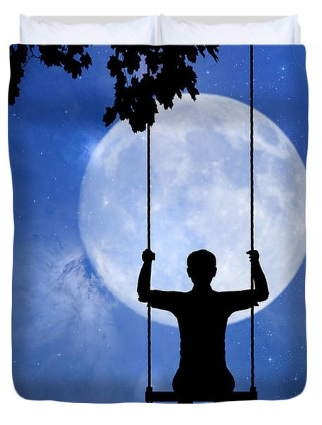 Childhood Dreams 2 The Swing Duvet Cover by John Edwards